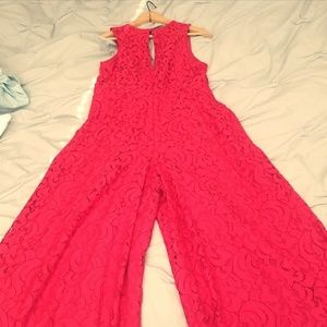 Red wide leg gaucho pant jumpsuit - NWT! - Size 4